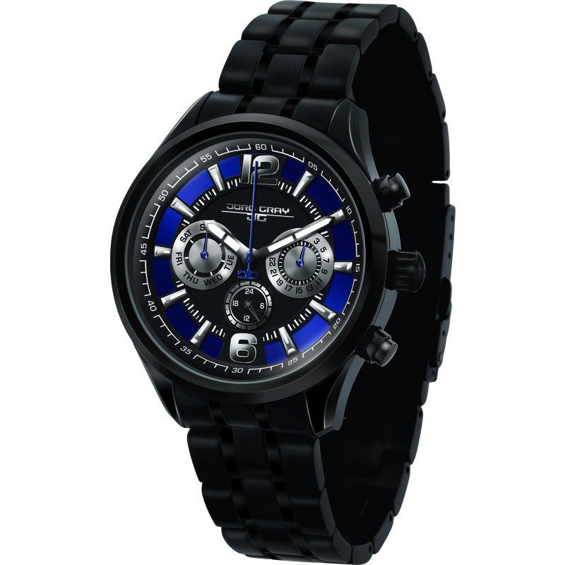 Jorg Gray JG6100-21 Black w/ Blue Multi-Function Unisex Watch | Steel