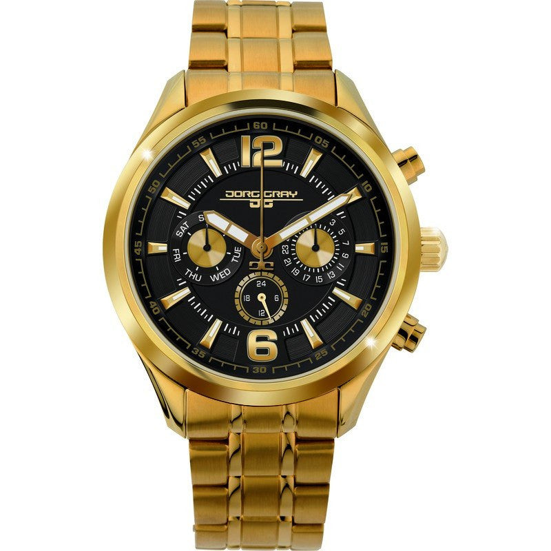 Jorg Gray JG6100-22 Black/Gold Multi-Function Unisex Watch | Steel