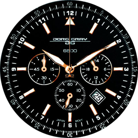 Jorg Gray JG6500-22 Black Chronograph Unisex Watch | Leather