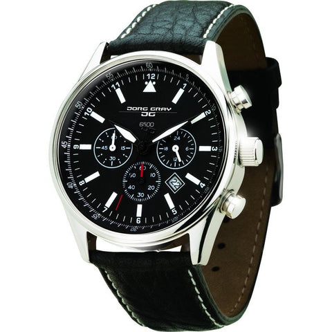 Jorg Gray JG6500 Black Chronograph Men's Watch | Leather