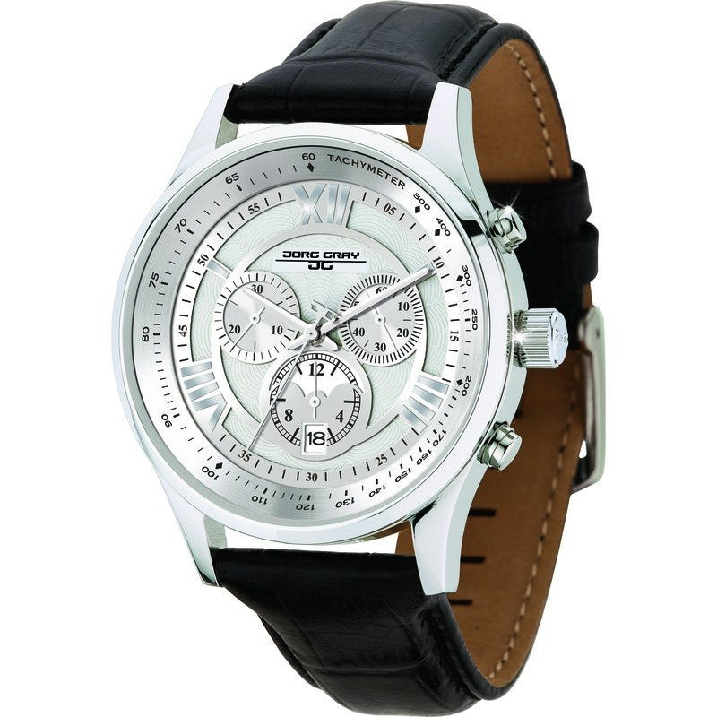 Jorg Gray JG6600-22 Silver w/ Silver Chronograph Men's Watch | Leather