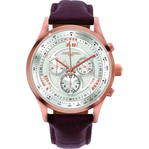 Jorg Gray JG6600-23 Silver w/ Gold Chronograph Men's Watch | Leather