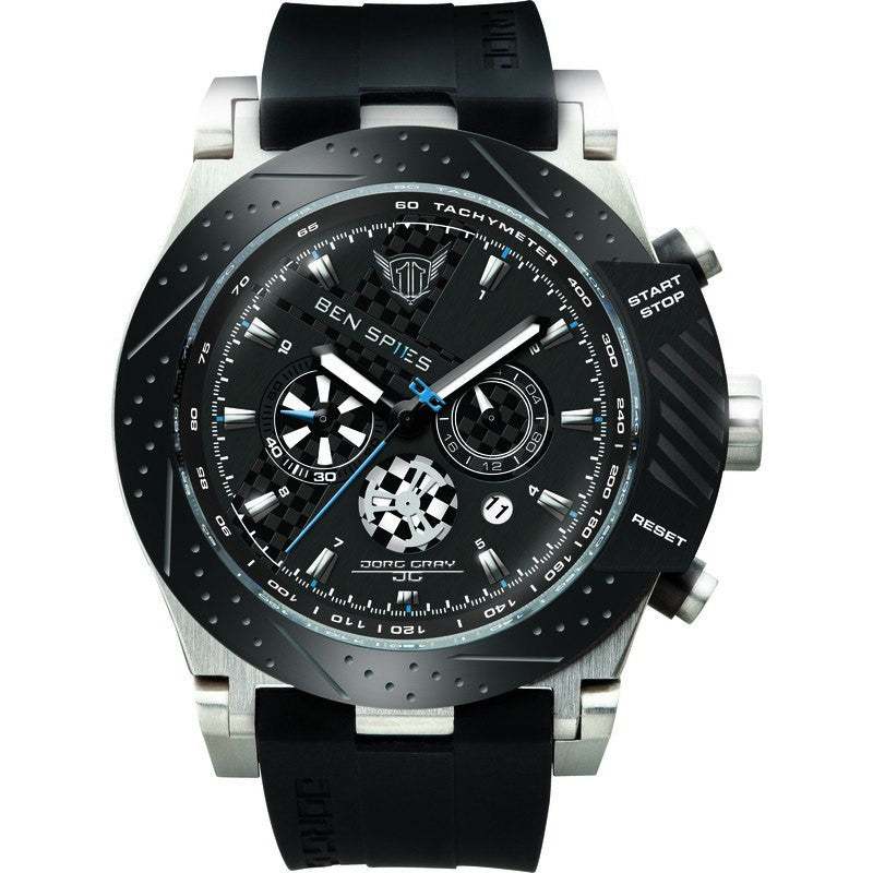 Jorg Gray JG6700-11 Black Carbon Chronograph Men's Watch | Silicone