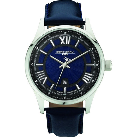 Jorg Gray JG6800-13 Blue w/ Silver Three Hand Men's Watch | Leather