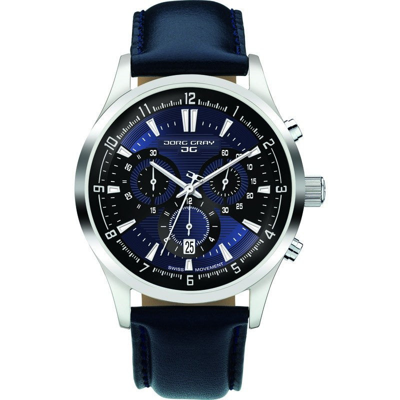 Jorg Gray JG6800-23 Blue Chronograph Men's Watch | Leather