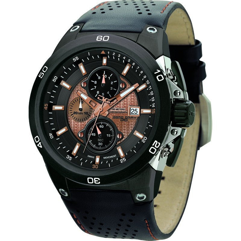 Jorg Gray JG7800-22 Black & Bronze Chronograph Men's Watch | Leather