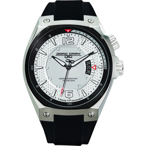 Jorg Gray JG8300-11 White Three Hand Men's Watch | Silicone