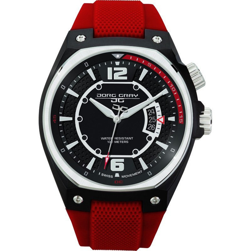 Jorg Gray JG8300-12 Black w/ Red Three Hand Men's Watch | Silicone