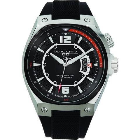 Jorg Gray JG8300-13 Black w/ Orange Three Hand Men's Watch | Silicone