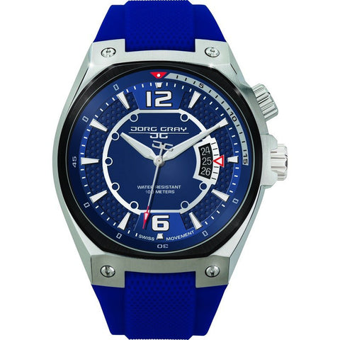 Jorg Gray JG8300-14 Blue w/ Silver Three Hand Men's Watch | Silicone