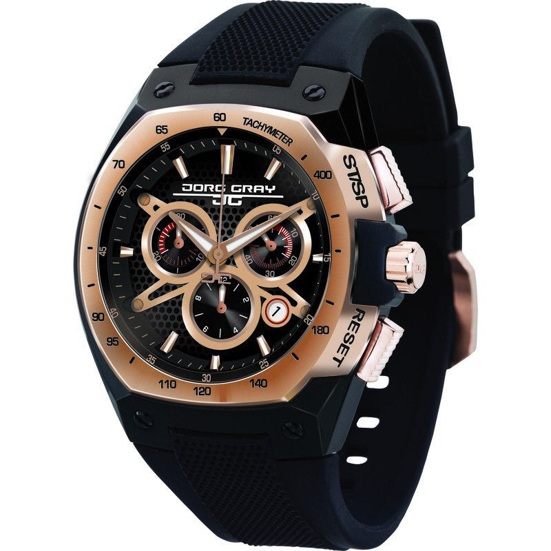 Jorg Gray JG8300-21 Black w/ Gold Chronograph Men's Watch | Silicone