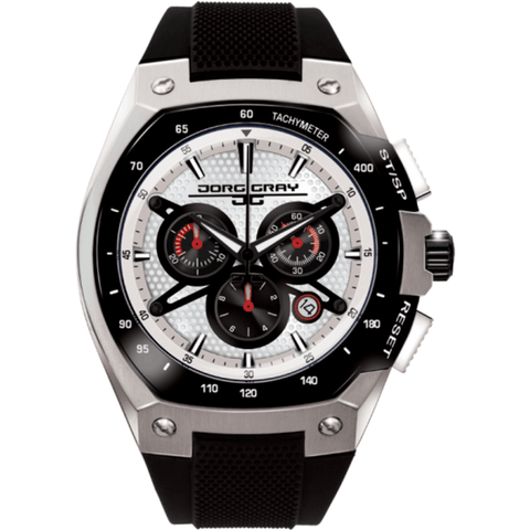 Jorg Gray JG8300-22 White w/ Black Chronograph Men's Watch | Silicone
