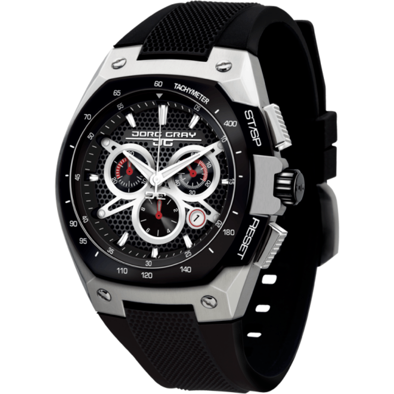 Jorg Gray JG8300-23 Black w/ Silver Chronograph Men's Watch | Silicone