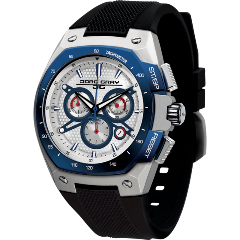 Jorg Gray JG8300-24 White w/ Blue Chronograph Men's Watch | Silicone