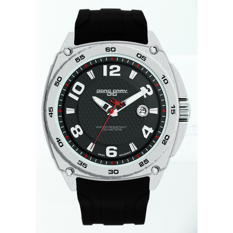 Jorg Gray JG8400-11 Black Three Hand Men's Watch | Silicone