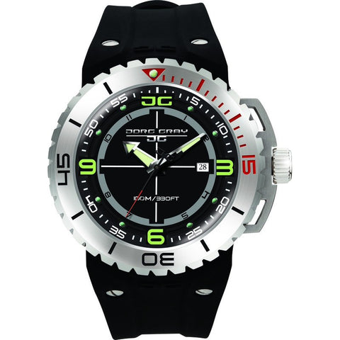 Jorg Gray JG8700-11 Black w/ Green Three Hand Men's Watch | Silicone