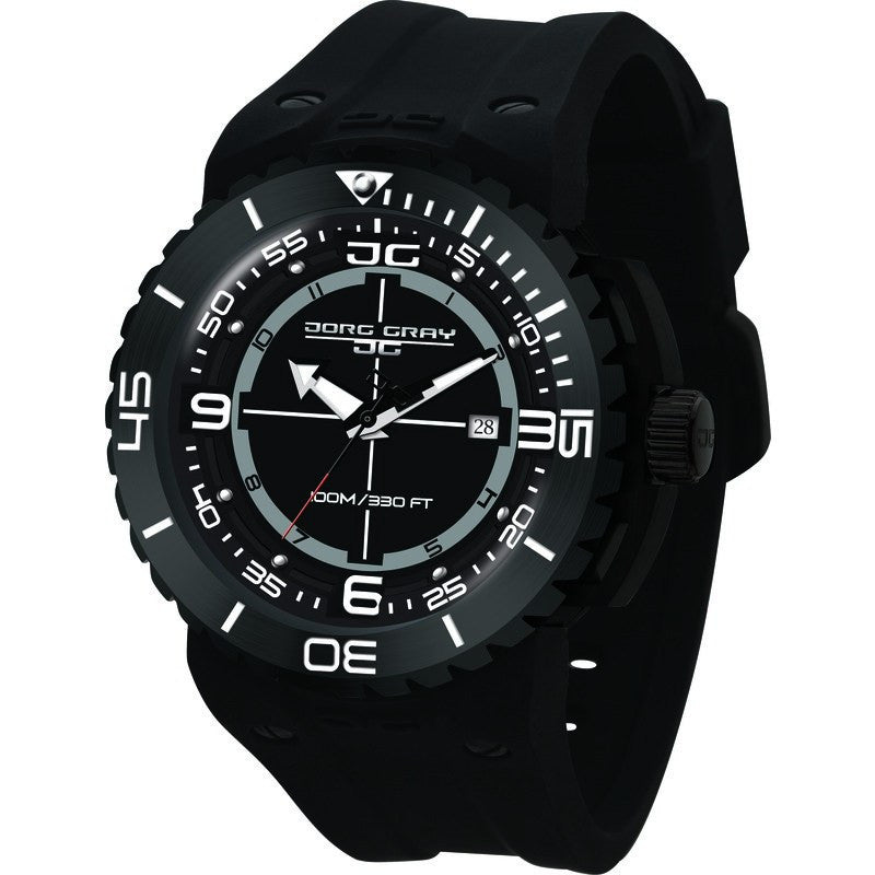 Jorg Gray JG8700-13 Black w/ White Three Hand Men's Watch | Silicone