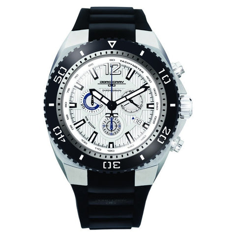 Jorg Gray JG9700-22 White w/ SIlver Chronograph Men's Watch | Silicone