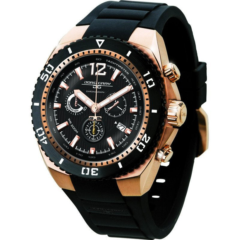Jorg Gray JG9700-23 Black w/ Gold Chronograph Men's Watch | Silicone