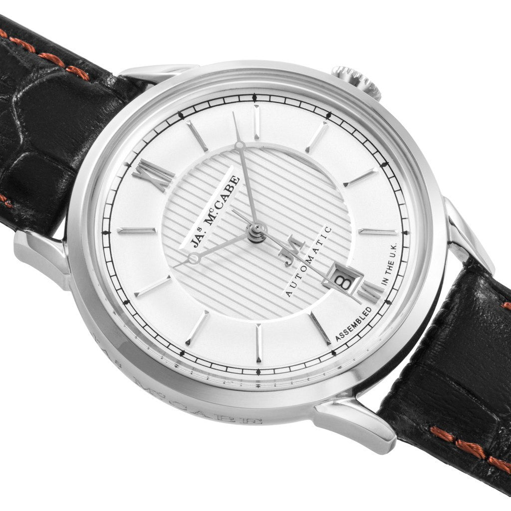 James McCabe Heritage Automatic II  Watch | Silver White/Black JM-1022-02
