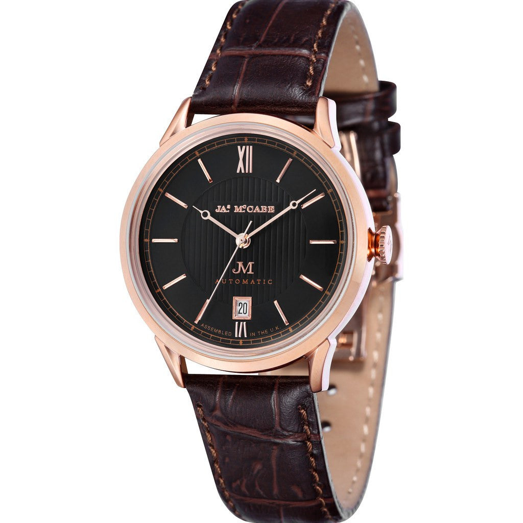 James McCabe Heritage Automatic II  Watch | Black/Brown JM-1022-03