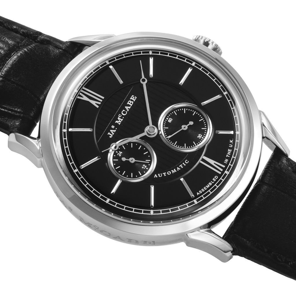 James McCabe Heritage Automatic II 24H Second Subdial Watch | Black/Black JM-1023-01