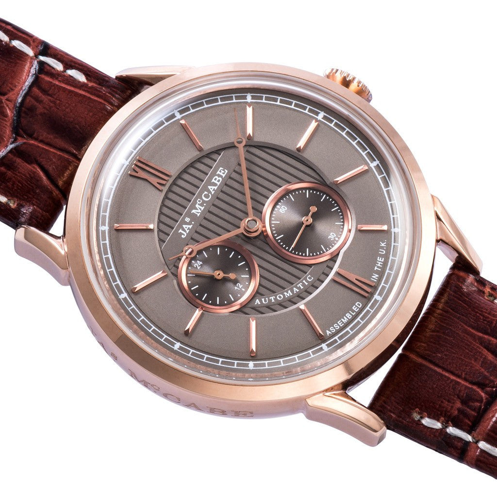James McCabe Heritage Automatic II 24H Second Subdial Watch | Light Brown/Brown JM-1023-03