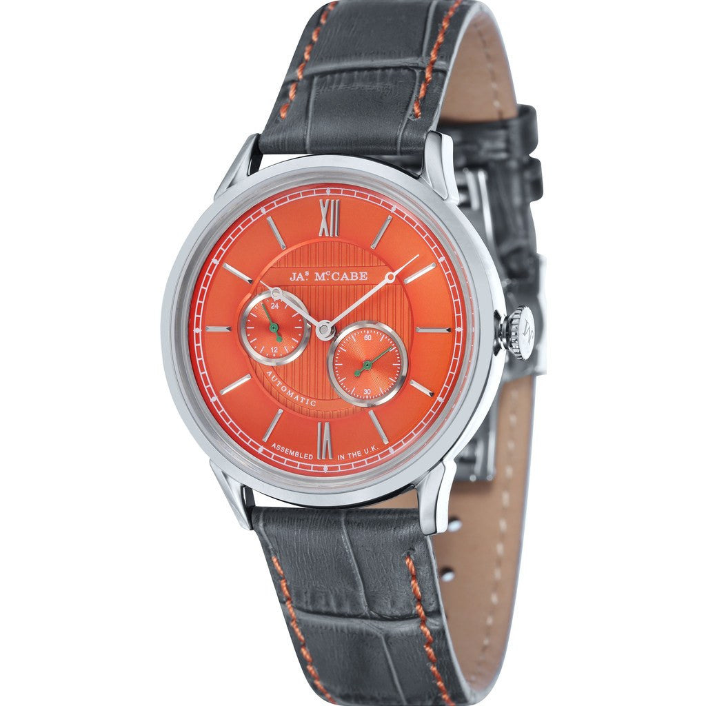 James McCabe Heritage Automatic II 24H Second Subdial Watch | Orange/Grey JM-1023-04