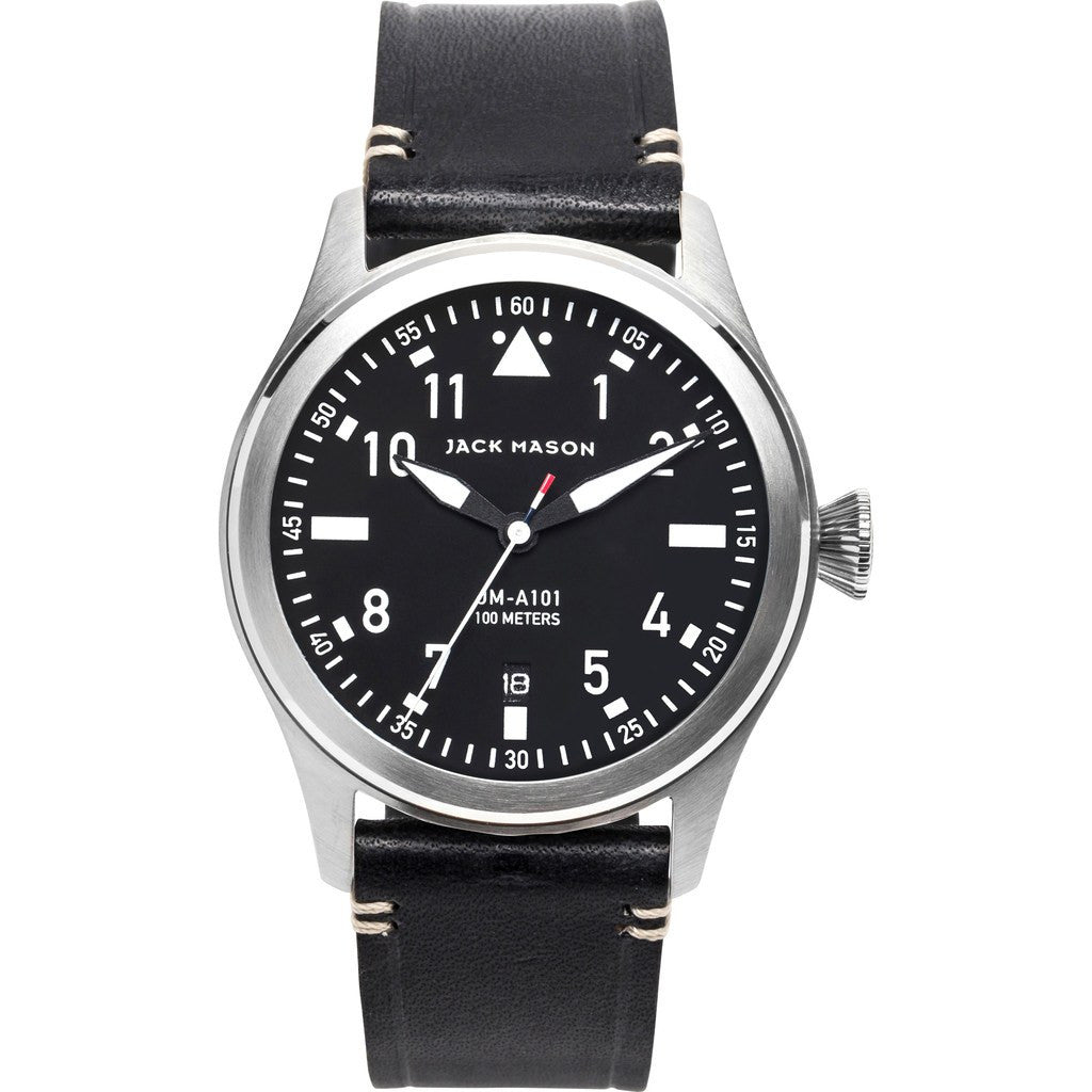 Jack Mason Aviator Black 3-Hand Stainless Steel Watch | Black Leather JM-A101-001