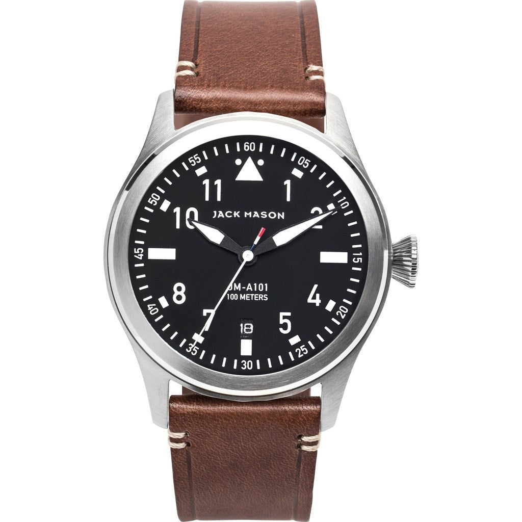 Jack Mason Aviator Black 3-Hand Stainless Steel Watch | Brown Leather JM-A101-002