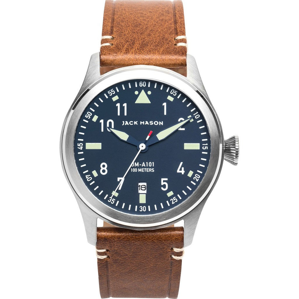 Jack Mason Aviator Navy 3-Hand Stainless Steel Watch | Saddle Leather JM-A101-004
