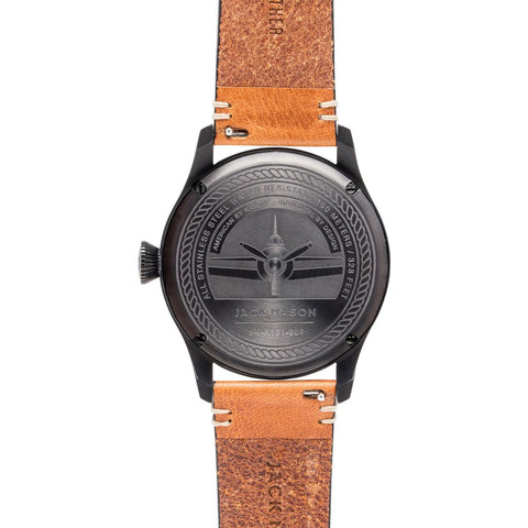 Jack Mason Aviator Black 3-Hand Black PVD Watch | Tan Leather JM-A101-005
