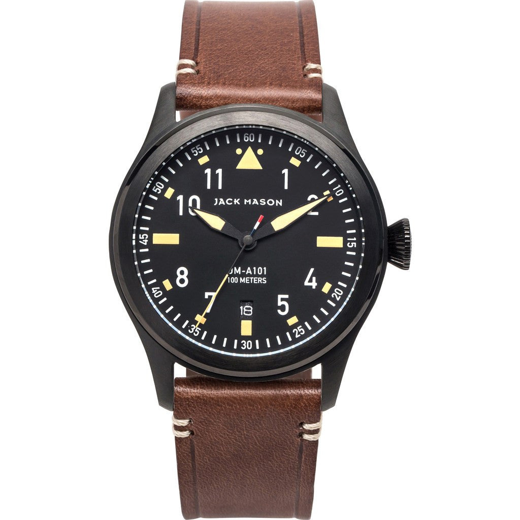 Jack Mason Aviator Black 3-Hand Black PVD Watch | Brown Leather JM-A101-006