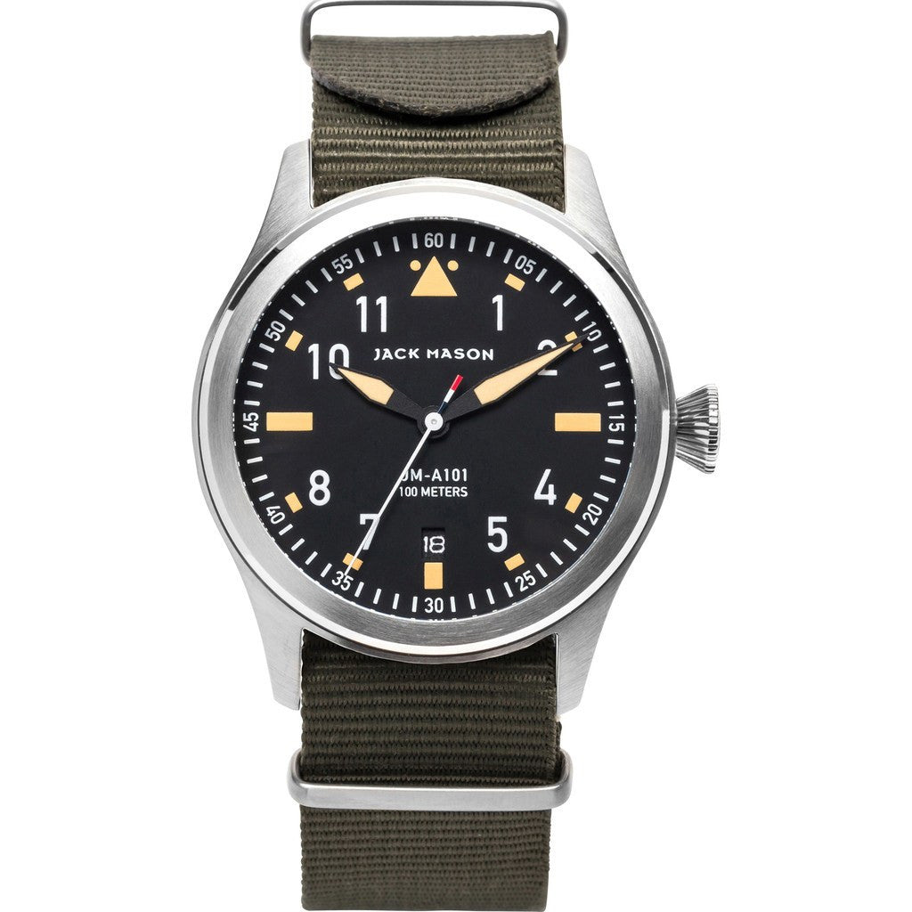 Jack Mason Aviator Black 3-Hand Stainless Steel Watch | Olive Nylon JM-A101-007