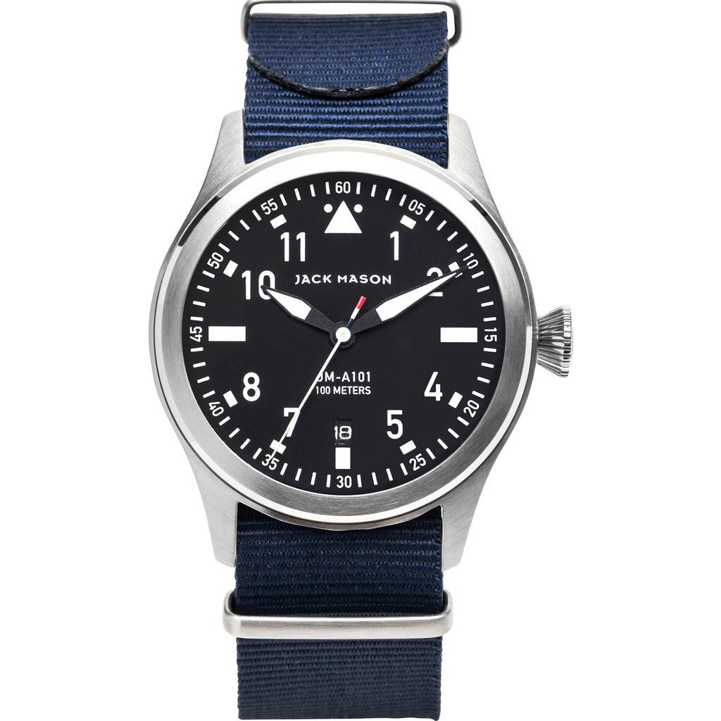 Jack Mason Aviator Black 3-Hand Stainless Steel Watch | Navy Nylon JM-A101-008