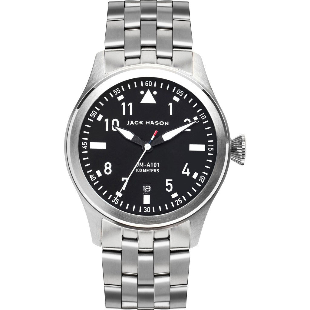 Jack Mason Aviator Black 3-Hand Stainless Steel Watch | Steel JM-A101-010