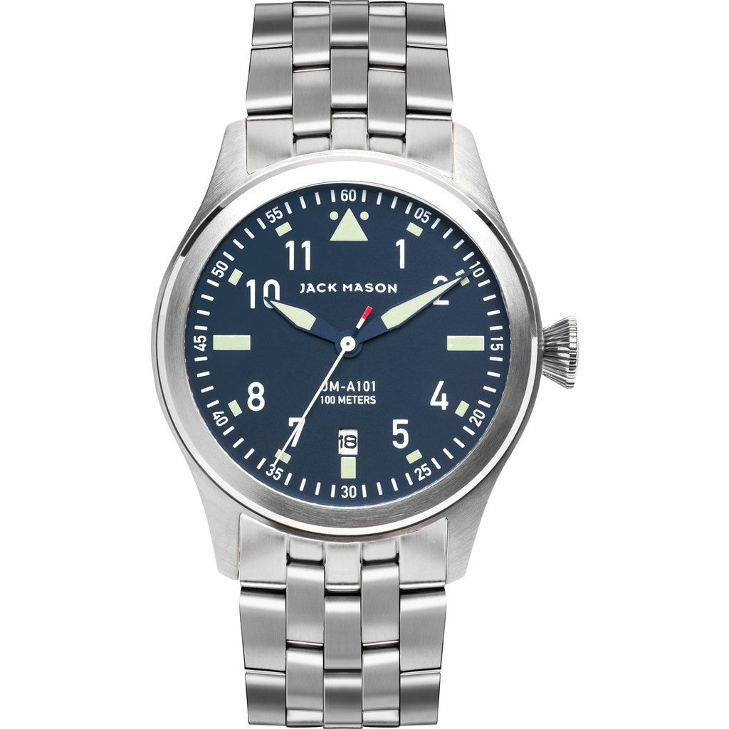 Jack Mason Aviator Navy 3-Hand Stainless Steel Watch | Steel JM-A101-011