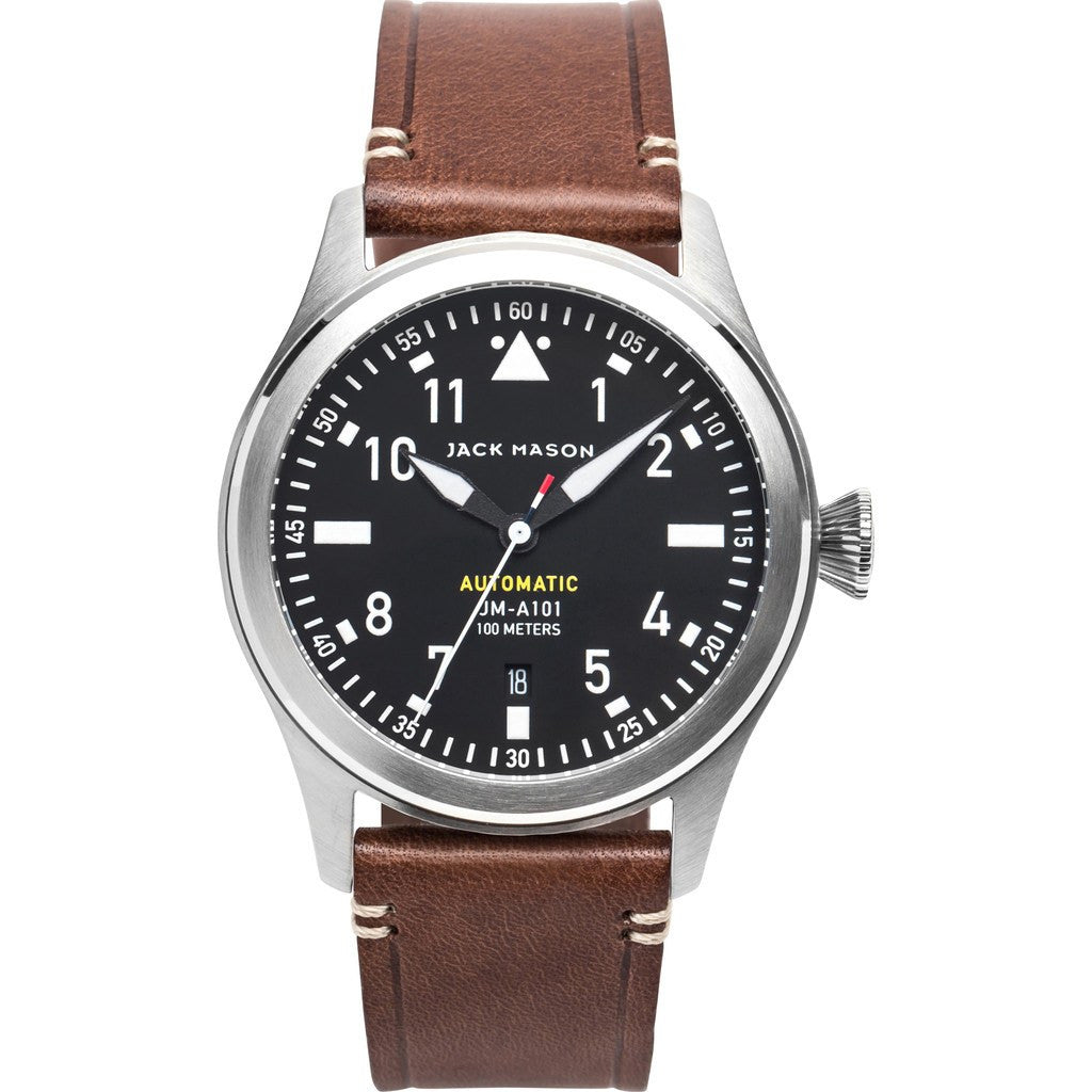 Jack Mason Aviator Black Automatic Stainless Steel Watch | Brown Leather JM-A101-014