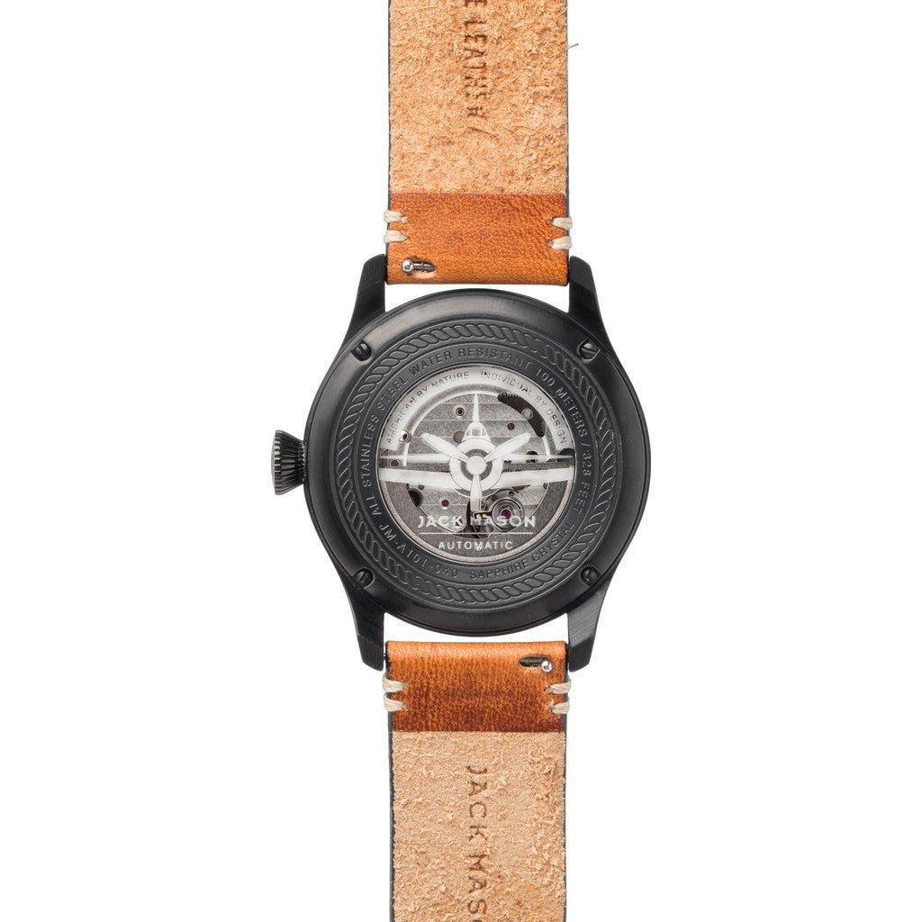 Jack Mason Aviator Black Automatic Black PVD Watch | Tan Leather JM-A101-040