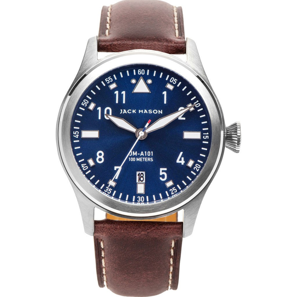 Jack Mason Aviator Navy 3-Hand Stainless Steel Watch | Brown Leather JM-A101-101