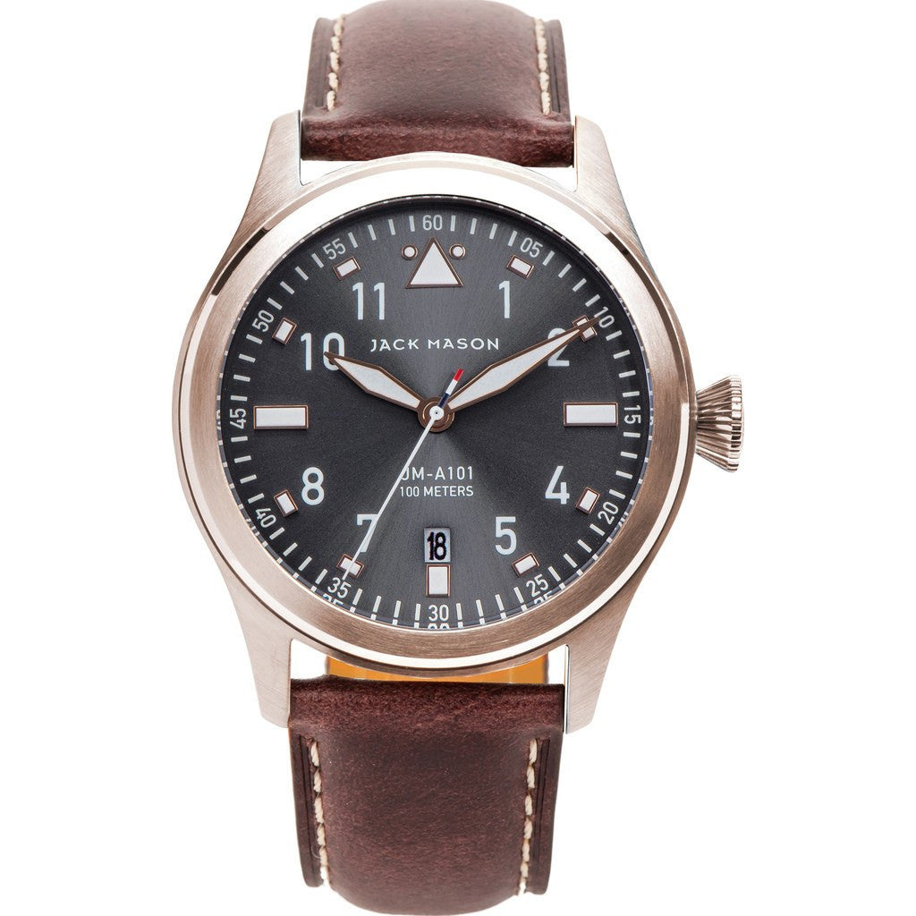 Jack Mason Aviator Grey 3-Hand Rose Gold Tone Watch | Brown Leather JM-A101-102