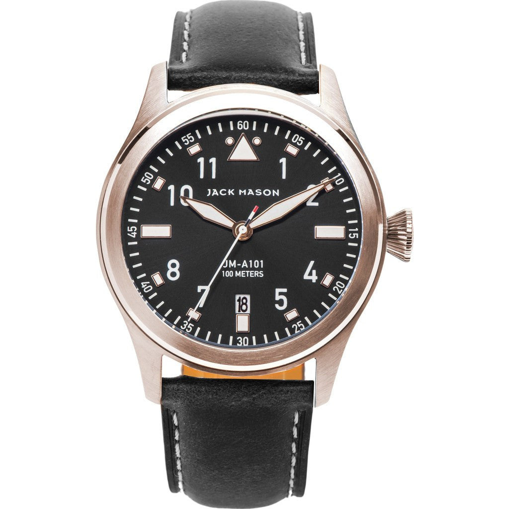 Jack Mason Aviator JM-A101-104 3-Hand Watch | Black Leather JM-A101-104