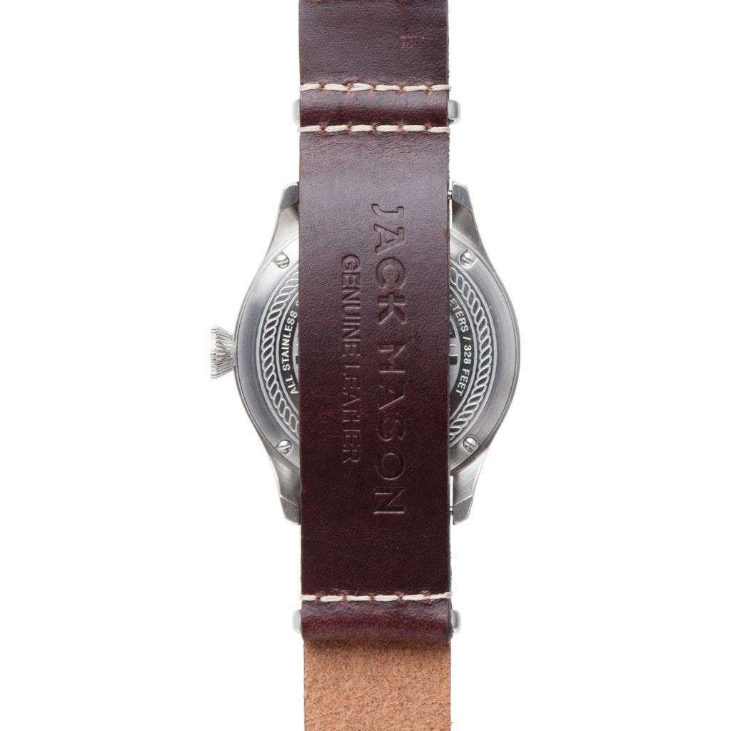 Jack Mason Aviator Black 3-Hand Stainless Steel Watch | Brown Leather Nato JM-A101-105