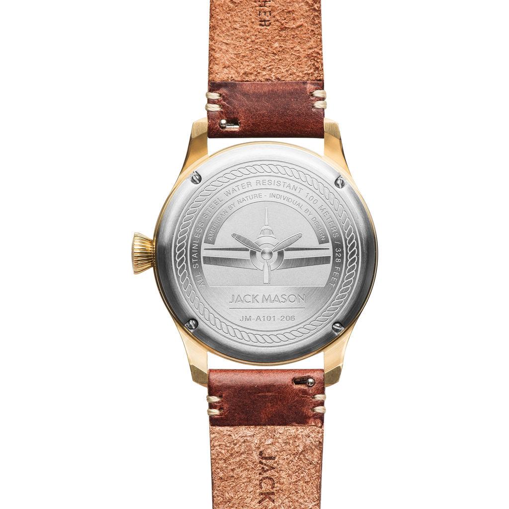 Jack Mason Black Aviator 3-Hand Gold Watch 42mm | Brown Leather JM-A101-206