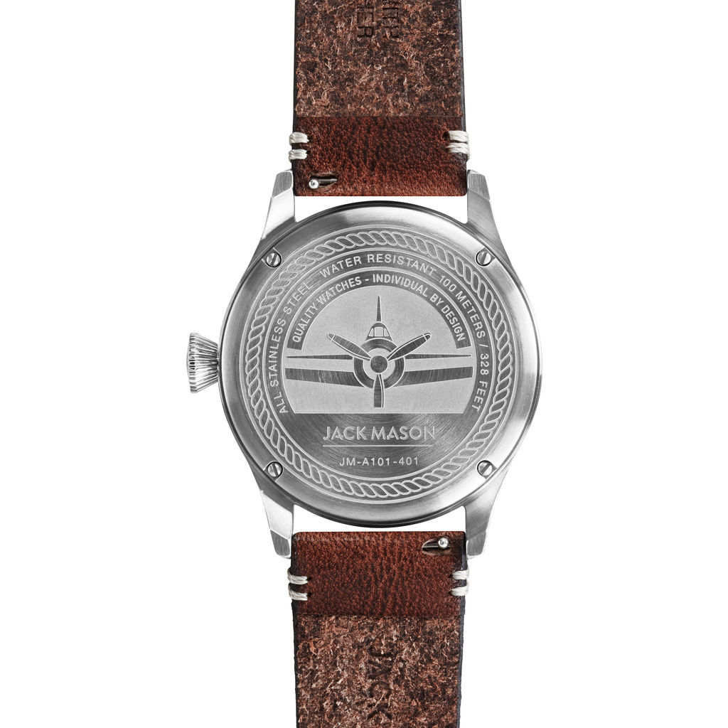Jack Mason Black Aviator 3-Hand Stainless Steel Watch | Brown Leather JM-A101-401