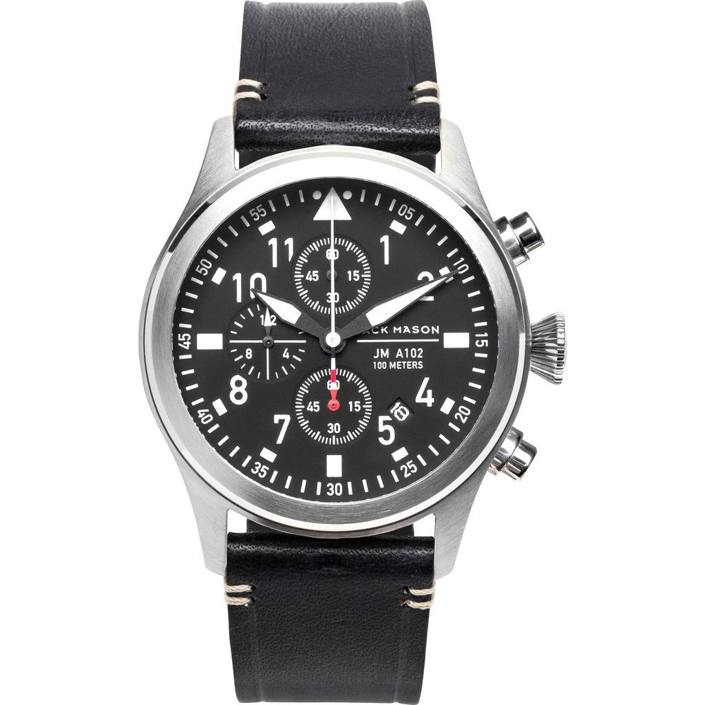 Jack Mason Aviator Black Chronograph Stainless Steel Watch | Black Leather JM-A102-015