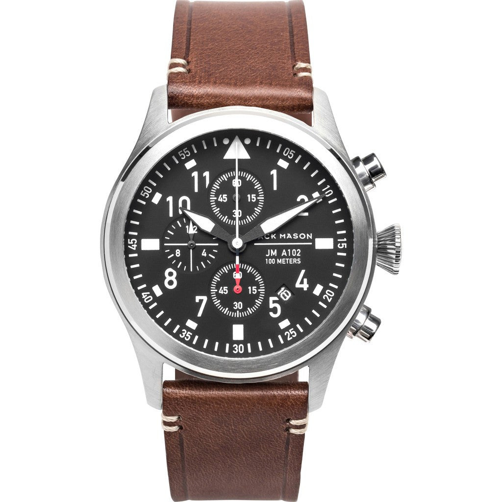Jack Mason Aviator Black Chronograph Stainless Steel Watch | Brown Leather JM-A102-016