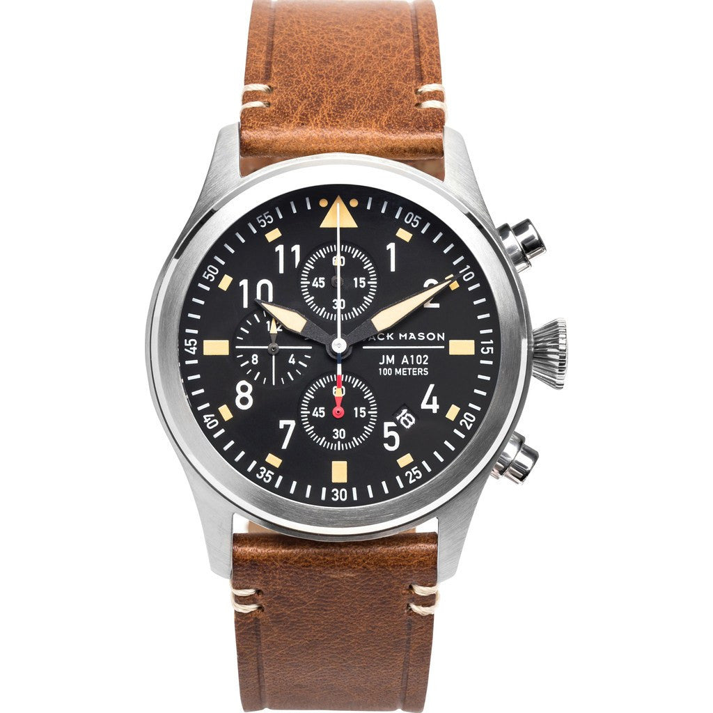 Jack Mason Aviator Black Chronograph Stainless Steel Watch | Saddle Leather JM-A102-017