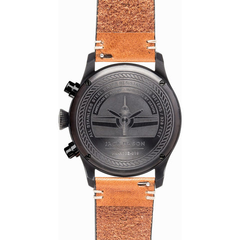 Jack Mason Aviator Black Chronograph Black PVD Watch | Tan Leather JM-A102-019