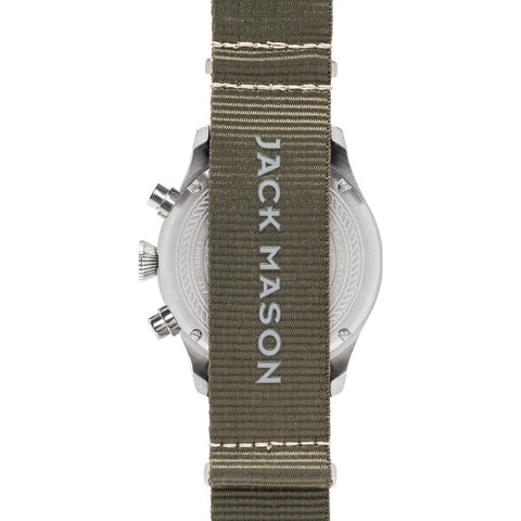 Jack Mason Aviator Black Chronograph Stainless Steel Watch | Olive Nylon JM-A102-021